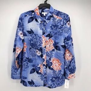 Charter Club  Large Blue Orange Floral Top L2-05